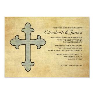 """Invitaciones del boda de la cruz del hierro del invitación 5"""" x 7"""""""