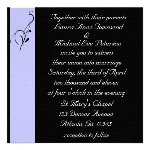Invitaciones del boda de la elegancia de Lavendar Comunicado Personalizado