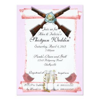 """Invitaciones del boda de la escopeta en pálido - invitación 5.5"""" x 7.5"""""""