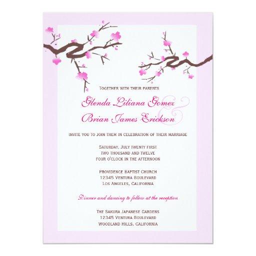 """Invitaciones del boda de la flor de cerezo invitación 5.5"""" x 7.5"""""""