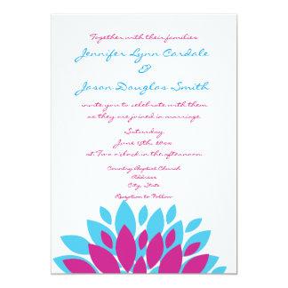 """Invitaciones del boda de la flor de la magenta y invitación 5"""" x 7"""""""