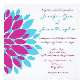 """Invitaciones del boda de la flor de la magenta y invitación 5.25"""" x 5.25"""""""