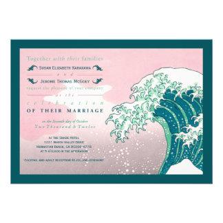 Invitaciones del boda de la impresión de Woodblock Comunicado