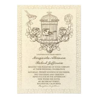invitaciones del boda de la jaula de pájaros del a invitacion personalizada