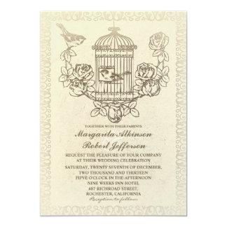 """invitaciones del boda de la jaula de pájaros del invitación 5"""" x 7"""""""