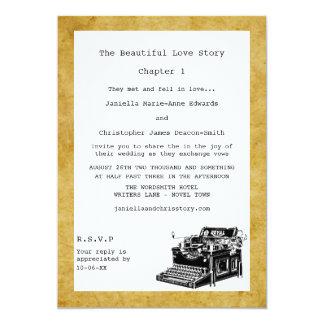"""Invitaciones del boda de la máquina de escribir invitación 5"""" x 7"""""""