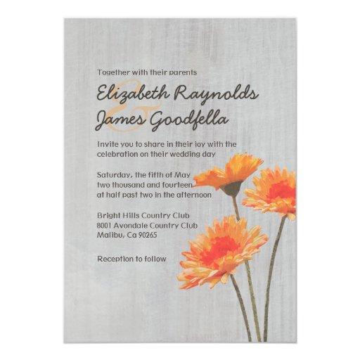 """Invitaciones del boda de la margarita del Gerbera Invitación 5"""" X 7"""""""