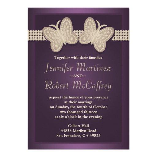 Invitaciones del boda de la mariposa de la berenje invitacion personal