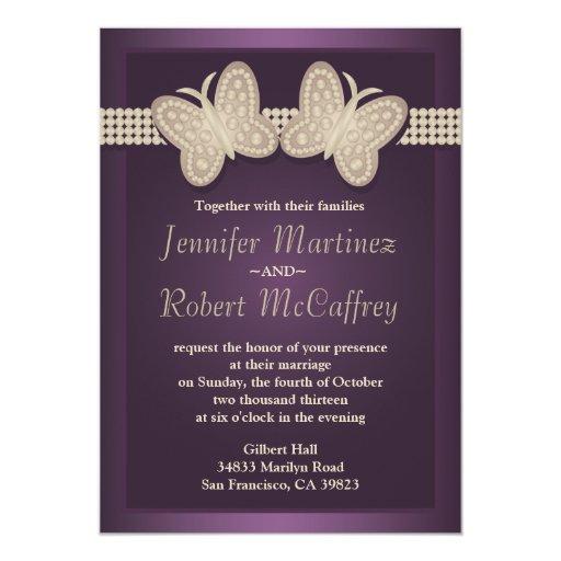 """Invitaciones del boda de la mariposa de la invitación 5"""" x 7"""""""