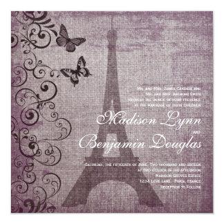 """Invitaciones del boda de la mariposa de la torre invitación 5.25"""" x 5.25"""""""