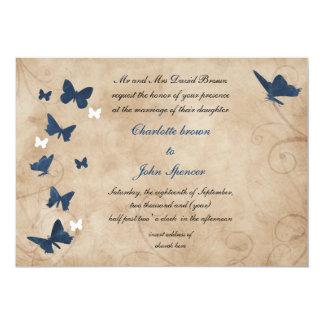 """invitaciones del boda de la mariposa del vintage invitación 5"""" x 7"""""""