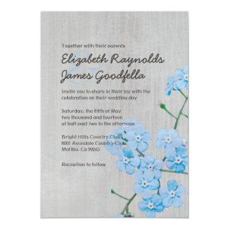 Invitaciones del boda de la nomeolvides del invitación 12,7 x 17,8 cm