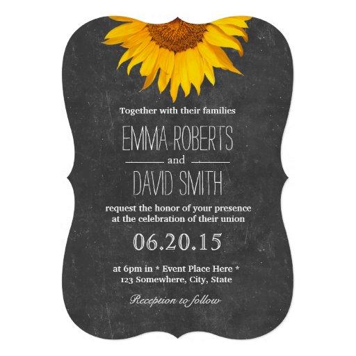 Invitaciones del boda de la pizarra del girasol invitación