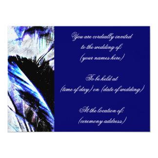 Invitaciones del boda de la pluma de los azules invitación 16,5 x 22,2 cm
