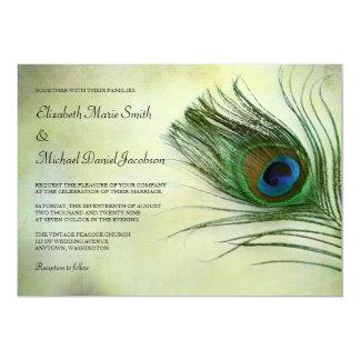Invitaciones del boda de la pluma del pavo real anuncios personalizados