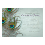 Invitaciones del boda de la pluma del pavo real de invitaciones personales