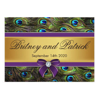 Invitaciones del boda de la pluma del pavo real de comunicados personalizados