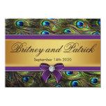 Invitaciones del boda de la pluma del pavo real de invitación 11,4 x 15,8 cm