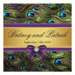 Invitaciones del boda de la pluma del pavo real de comunicado