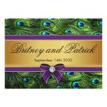 Invitaciones del boda de la pluma del pavo real de anuncio