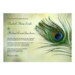 Invitaciones del boda de la pluma del pavo real de anuncios personalizados