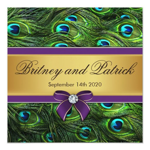 Invitaciones del boda de la pluma del pavo real de invitación 13,3 cm x 13,3cm