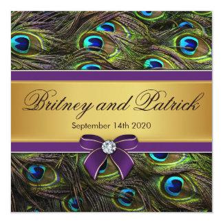 """Invitaciones del boda de la pluma del pavo real de invitación 5.25"""" x 5.25"""""""