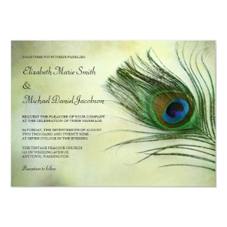 """Invitaciones del boda de la pluma del pavo real invitación 5"""" x 7"""""""