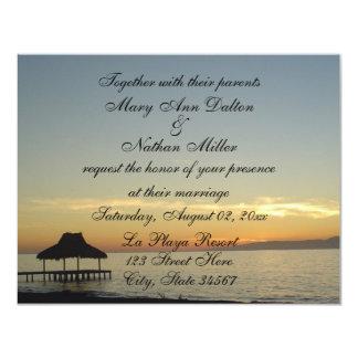"""Invitaciones del boda de la puesta del sol de la invitación 4.25"""" x 5.5"""""""