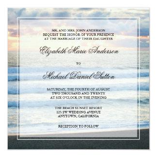"""Invitaciones del boda de la puesta del sol de la invitación 5.25"""" x 5.25"""""""