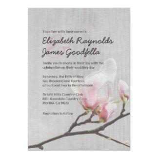 Invitaciones del boda de la rama de la magnolia comunicados personalizados