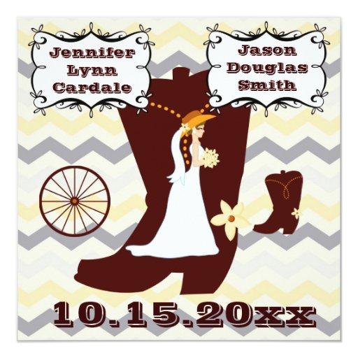 Invitaciones del boda de la raya de Chevron de la Comunicados