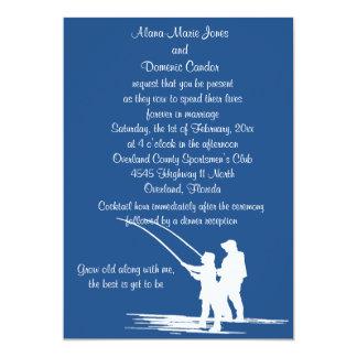 Invitaciones del boda de los pares de la pesca: invitación 12,7 x 17,8 cm