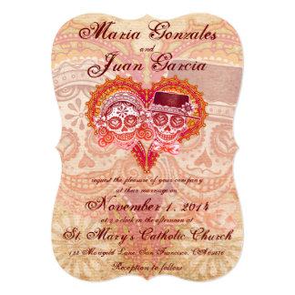 Invitaciones del boda de los pares del cráneo del invitación 12,7 x 17,8 cm