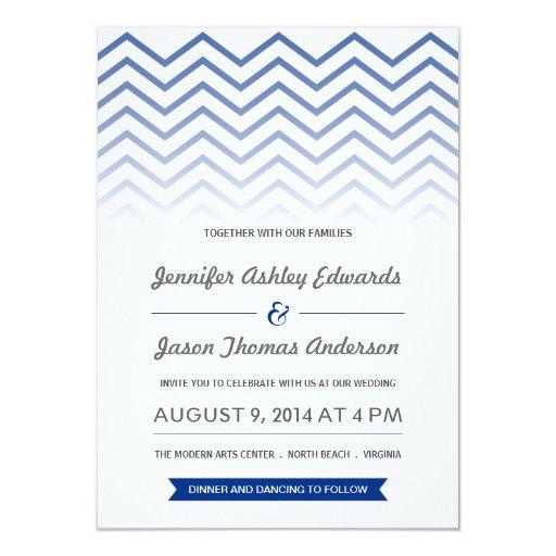 Invitaciones del boda de Ombre Chevron de los Invitación 11,4 X 15,8 Cm