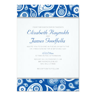 """Invitaciones del boda de Paisley del azul real Invitación 5"""" X 7"""""""