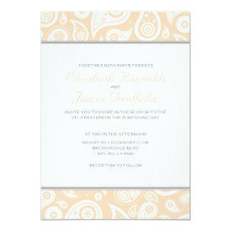 """Invitaciones del boda de Paisley del melocotón Invitación 5"""" X 7"""""""