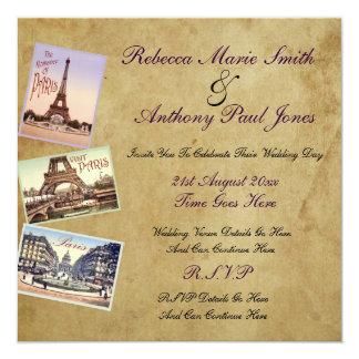 """Invitaciones del boda de París del vintage Invitación 5.25"""" X 5.25"""""""