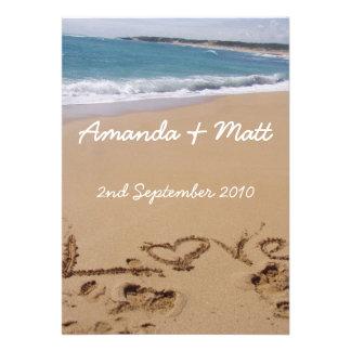 Invitaciones del boda de playa comunicados personales