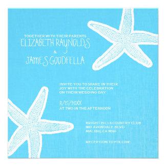 Invitaciones del boda de playa de las estrellas de
