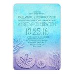 Invitaciones del boda de playa de Ombre - azules Invitacion Personal