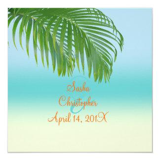 """Invitaciones del boda de playa de PixDezines Invitación 5.25"""" X 5.25"""""""