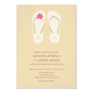 Invitaciones del boda de playa del flip-flop - comunicados personales