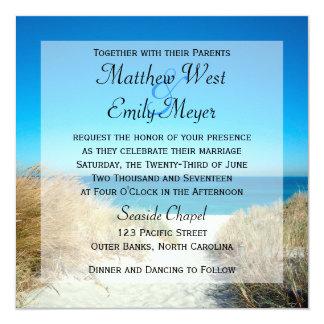 """Invitaciones del boda de playa del Seagrass Invitación 5.25"""" X 5.25"""""""