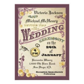 Invitaciones del boda de Steampunk del Victorian Invitación Personalizada
