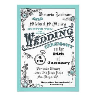 Invitaciones del boda de Steampunk del Victorian Comunicado Personal