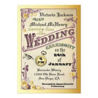 Invitaciones del boda de Steampunk del Victorian