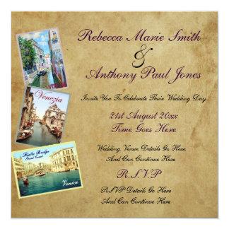 """Invitaciones del boda de Venecia del vintage Invitación 5.25"""" X 5.25"""""""