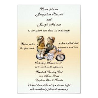 """Invitaciones del boda del amor de la motocicleta invitación 5"""" x 7"""""""