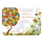 Invitaciones del boda del árbol de la flor del invitación 12,7 x 17,8 cm